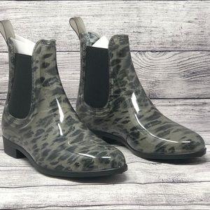 Henry Ferrera Womens Rain Boots Black Leopard 6